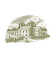 woodcut english farmhouse vector image vector image