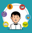 young waiter cartoon vector image