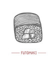 futomaki sushi in hand drawn style vector image