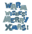 Merry Christmas note Christmas patchwork style vector image