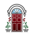 red door with lanterns and topiary vector image