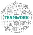 teamwork linear slide for the vector image
