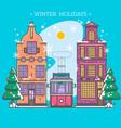 snowy street urban winter landscape christmas vector image