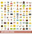 100 order icons set flat style