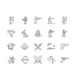 armed force line icons signs set outline vector image