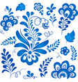 Blue floral elements in Russian gzhel style vector image vector image