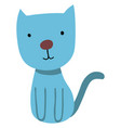 blue sweet cat on white background vector image vector image