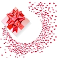 Box with red bow and confetti hearts on white vector image vector image
