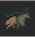bull and bear trading crypto symbol
