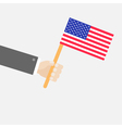 Businessman hand holding american flag Isolated