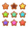 cartoon wooden stars set vector image vector image