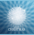 christmas card with xmas ball on blue background vector image vector image