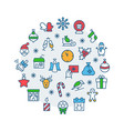 christmas set icons circle in flat style symbols vector image