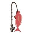 cod fish sealife food ocean fishing rod vector image