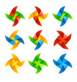 colorful wind mill set vector image vector image