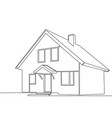 continuous line drawing house vector image vector image