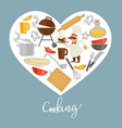cooking promo poster with kitchenware and chef vector image vector image