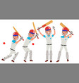 cricket player in action cricket team vector image vector image