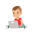 cute little boy character using laptop while vector image vector image