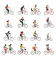 cyclists set happy people riding bicycle family vector image vector image