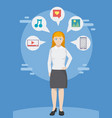 executive woman with social media vector image vector image