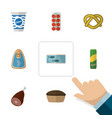 flat icon food set of canned chicken spaghetti vector image vector image
