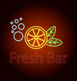 fresh bar logo neon light icon realistic style vector image vector image