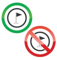 Golf permission signs vector image vector image