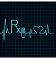 Heartbeat make Rx textcapsule and heart symbol vector image vector image