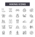hiking line icons signs set outline vector image vector image