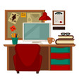 home parlor workplace furniture accessories vector image