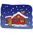 House in Christmas night vector image vector image