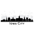 iowa city skyline black and white silhouette vector image vector image
