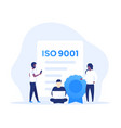 iso 9001 certificate with people art vector image vector image