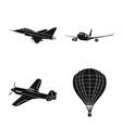 isolated object of plane and transport logo set vector image