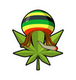 leaf marijuana and reggae cap with dreadlocks vector image vector image