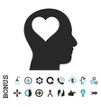 Lover Head Flat Icon With Bonus vector image vector image