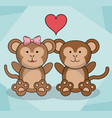loving couple monkey animal baby heart decoration vector image