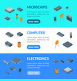 microchip computer electronic components banner vector image vector image