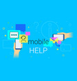 mobile help and online support on smartphone vector image vector image