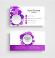 Modern violet round business card template vector image vector image