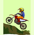 motorcycle rider up to hill enduro offroad vector image vector image