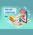 online shopping express delivery service courier vector image vector image