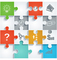 parts of paper puzzles with icons business concept vector image vector image