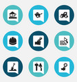 set of 9 editable building icons includes symbols vector image vector image