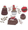 set of christmas goodies very delicious vector image