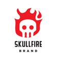 skeleton skull fire logo vector image