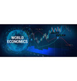 stock market forex with 3d earth globe vector image vector image
