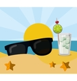 vacation beach sunglasses cocktail sun sand vector image