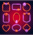 valentines neon frames set vector image vector image